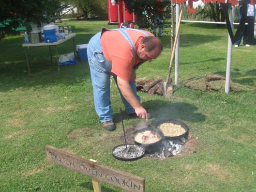 Selling Ham and Beans and Tators and Onion cooked over a wood fire